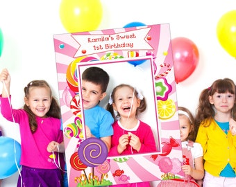 Candy Land Birthday Photo booth Selfie Frame , Candy Land Party , Candy shoppe Frame, Candyland Birthday , Sweet Candy Shoppe Party ;1001179