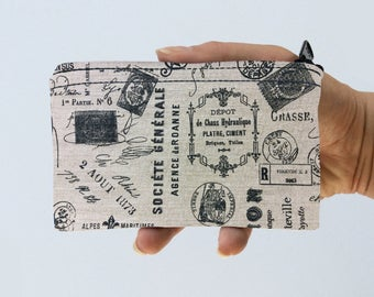 Coin Purse Vintage Postage Little Zipper Pouch - Postmark Coin Purse - Gadget Case Padded
