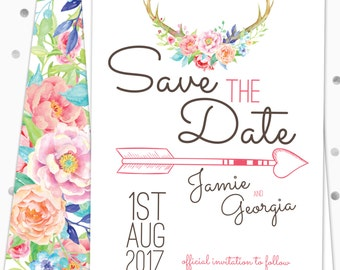 Save the Date - Floral Boho