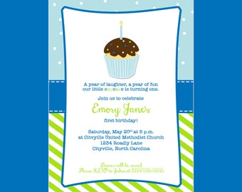 Cupcake Birthday Invitation (Colors can be Customized)