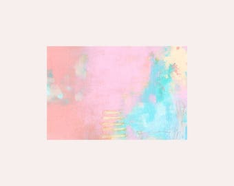 Stitches: ORIGINAL Small Abstract Expressionism Painting, Pink and Blue Contemporary Artist Painting, Wall Art Decor for Home Gift