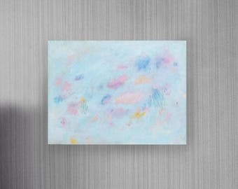 Distant Lights: ORIGINAL Abstract Expressionism Painting on Stretched Canvas, 16x12 inch Horizontal painting, Blue pastel Calming colors