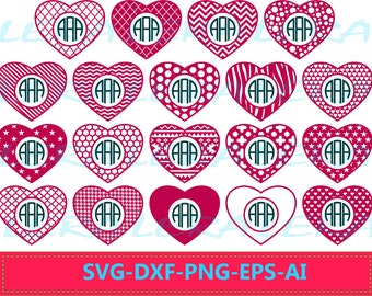 60 % OFF, Monogram Hearts SVG, Heart SVG,  Heart File svg, png, eps, dxf, ai,  Cutting File Design, Valentines Hearts svg, Chevron Files Svg