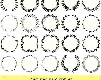 60 % OFF, Laurel wreath SVG, Wreath png, eps,svg,dxf, Laurel Wreath Circle Monogram Frame Files svg, Laurel Wreaths Clipart Digital Download