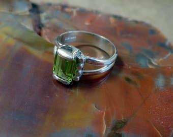 Green Peridot Ring Silver - August Birthstone Ring - Solitaire Stone Ring-Healing Gem - Solitaire Ring - Peridot Ring - 1 Carat Gem 1223