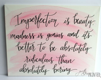 Marilyn Monroe Quote Hand Lettered Canvas