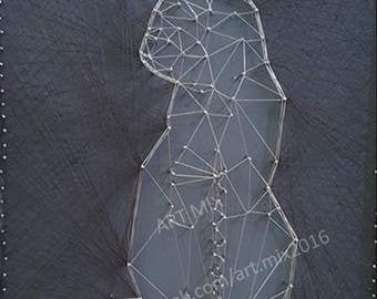 Cat String Art // Nails and Thread // Framed // With Glass // 28cm x 23cm // Free Postage
