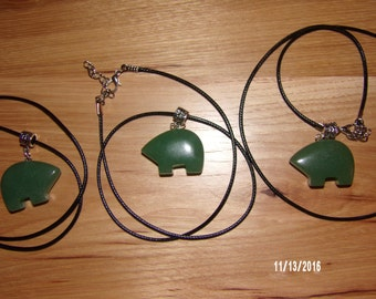 N302 Leather Corded Necklace with a Zuni Green Stone Bear