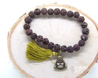 B021712 BrownLava Rock With Tassel and Buddha Charm Bracelet and Tassel.