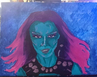 A4 Canvas Gamora: Guardians of the Galaxy. Painted in Acrylic