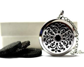 Regal Royale Lava Stone Stainless Steel Diffuser Necklace // Aromatherapy Necklace //- With Choice of Essential Oil