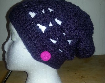 Slouchy teen hat, adult winter hat, Scalloped edge, holiday gift, fall hat, cool weather, snow hat,  purple