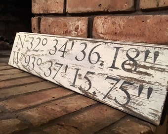 Address sign, shiplap, farmhouse, farmhouse decor, fixer upper, home sign, rustic home decor, gps coordinates sign, location sign