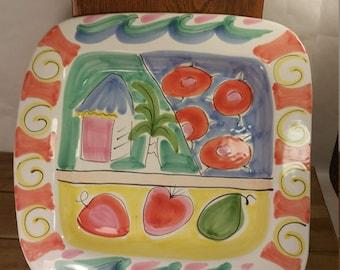 Vintage Italian Present Tense Elizabeth Barrett Roache Hand Painted Tickle Pink Platter