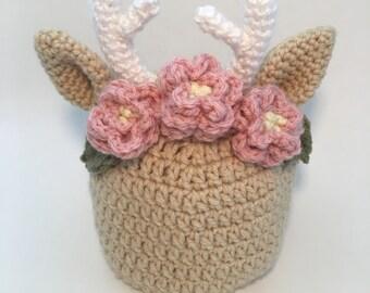 Newborn Baby Deer Hat, Fawn Hat, Deer with Flowers, Flower Crown Deer Photo Prop Crochet Hat