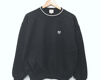 Rare!! MCM LEGERE Mens Sweatshirt Pullover Jumper Embroidery Small Logo Ringer Black Colour Large Size