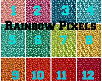 Rainbow Pixels 12x12 Patterned Vinyl, Printed Vinyl - Adhesive Sticky Craft Vinyl - HTV, Glitter HTV