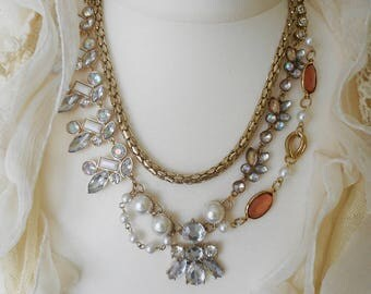UNIQUE ASSEMBLAGE NECKLACE Upcycled Created from Vintage Jewellery  Crystal Pearl