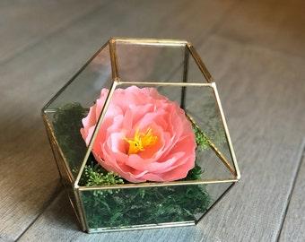 Gold Geo Terrarium with Handmade Crepe Paper Flower