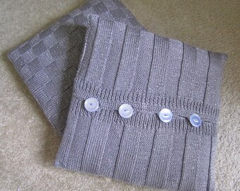 Set of 2 Hand Knitted Sparkle Grey Decorative Pillow