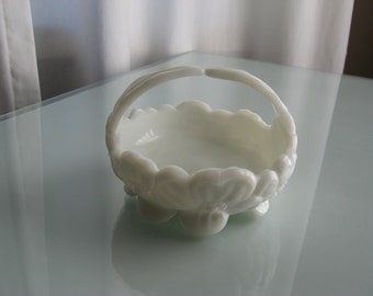 Westmoreland Pansy White Milk Glass Candy Dish