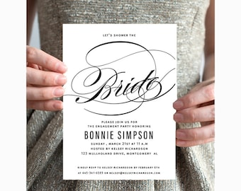 Bridal Shower Invitation Printable CLASSIC CALLIGRAPHY,southern bride, DIY engagement Party Invite