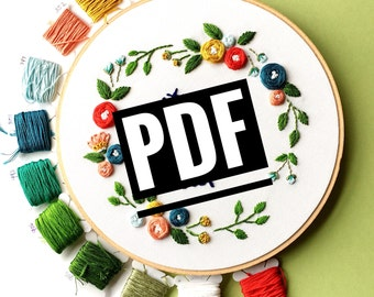 Cool Embroidery Pattern, Embroidery kit, beginner embroidery, PDF pattern, craft supply tool, instant download, printable embroidery, crafty