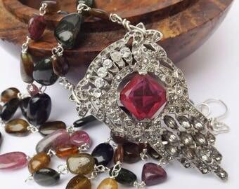 Vintage dress clip, crystal dress clip necklace, tourmaline necklace,vintage dress clip, bridal wear, for a bride, watermelon tourmaline