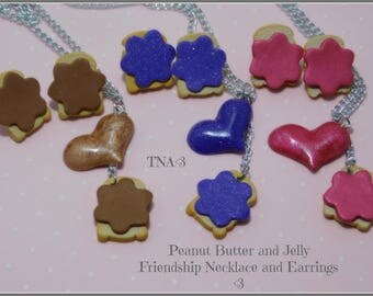 Peanut Butter and Jelly Friendship Necklace and Earring sets