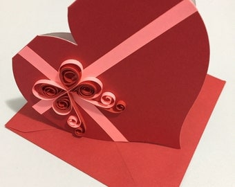Valentine's Day Card. Heart shaped greeting card, handmade quilled card. Heart and bow