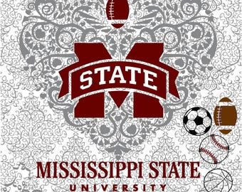 Baseball Basketball Soccer Football Mississippi State Logo Heart DXF SVG