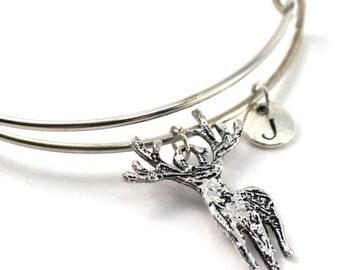 DEER bracelet, silver deer bangle, deer charm, initial bracelet, adjustable bangle, personalized jewelry, swarovski birthstone