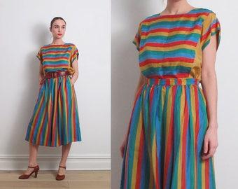 80s Striped Silk Two Piece Dress / M-L