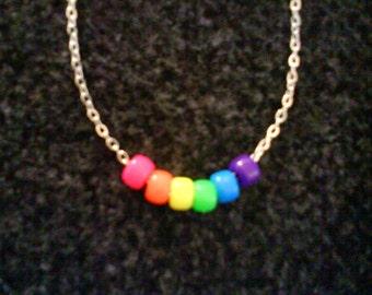 LoliRosa Vivid Bright Neon Rainbow Bead Necklace