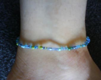"LoliRosa ""Under The Sea"" Glass Seed Bead Stretch Anklet"