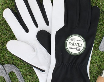 Personalised Name Large Black Leather & Nylon Mens Gardening Gloves