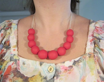 Cherry necklace Matt Fimo, cherry red, cherry red matte polymer clay chainlet