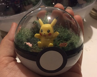 Miniature Pikachu 2.5in Pokeball Terrarium