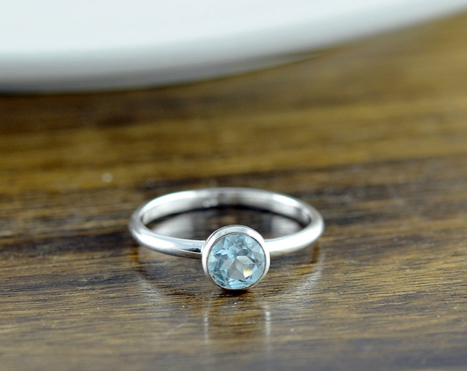Sterling Silver Round Blue Topaz Ring - Topaz Ring - Birthstone Ring - Birthstone Jewelry - December Birthstone Ring - Stacking Rings