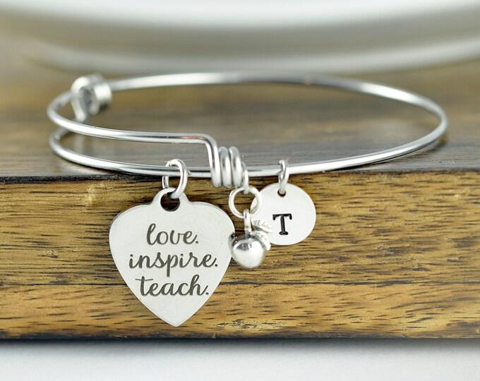Love Inspire Teach Bracelet, Personalized Teacher Gift, Teacher Gifts, Teacher Bracelet, Teacher Birthday Gift, Teacher Appreciation Gift