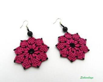 Earrings, macrame, flower, pink, black, beads, mandala, rosette, fuchsia