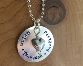 Three names charm, mothers necklace, family necklace, childs name, mothers day gift, gift for mom, grandma gift, grandchildren names charm