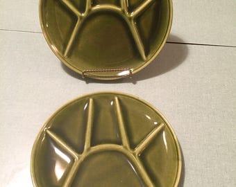Vintage Moss Green Fondue Plates