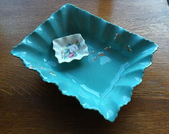 Vintage Large Blue Fluted Edged Foley Dish. SPECIAL OFFER.