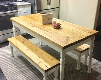 Custom Turned Fancy Leg Farmhouse Dining Table