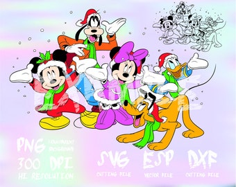 Mickey  and friends Christmas Mickey and friends ,clipart,SVG,PNG 300dpi ,ESP vector