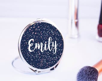 Personalised Pretty Handwritten Round Compact Mirror - Women's Accessories - Beautiful Bridesmaid Pocket Mirror - Made to order