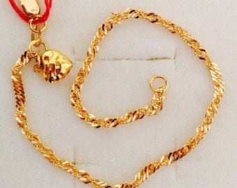 22k solid 916 gold heart bell twist bracelet