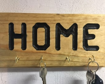 Key Holder - Stained (Golden Oak) with Black Letters