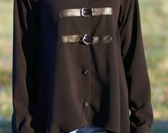 Asymmetric Black loose shirt/asymmetric black tunic/ asymmetric black top